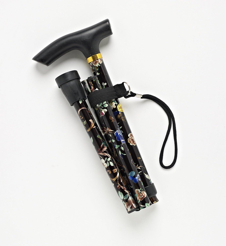 Unisex Adulto Negro 81cm Extends to Full Length 32 to 35 Walking Sticks Walking Black Flower Bast/ón 89cm