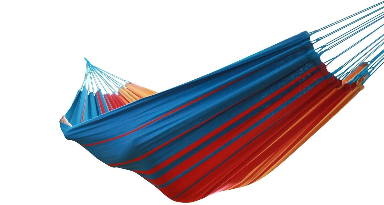 MacaMex 01102Hamac, Vida de la Luz–Original tissage bresilien Double Hamac, 360x 160x 150cm, turquoise/rouge/jaune MA-01102