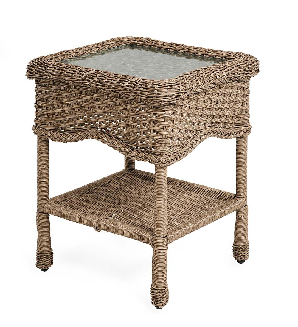 Prospect Hill Wicker End Table with Glass Tabletop, Driftwood