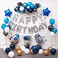 Ponmoo Globos Cumpleaños Decoraciones Azul para Fiestas Robot
