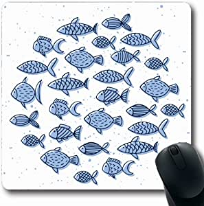 Mousepad Oblong Lindo Mar Azul Dibujado a mano Peces