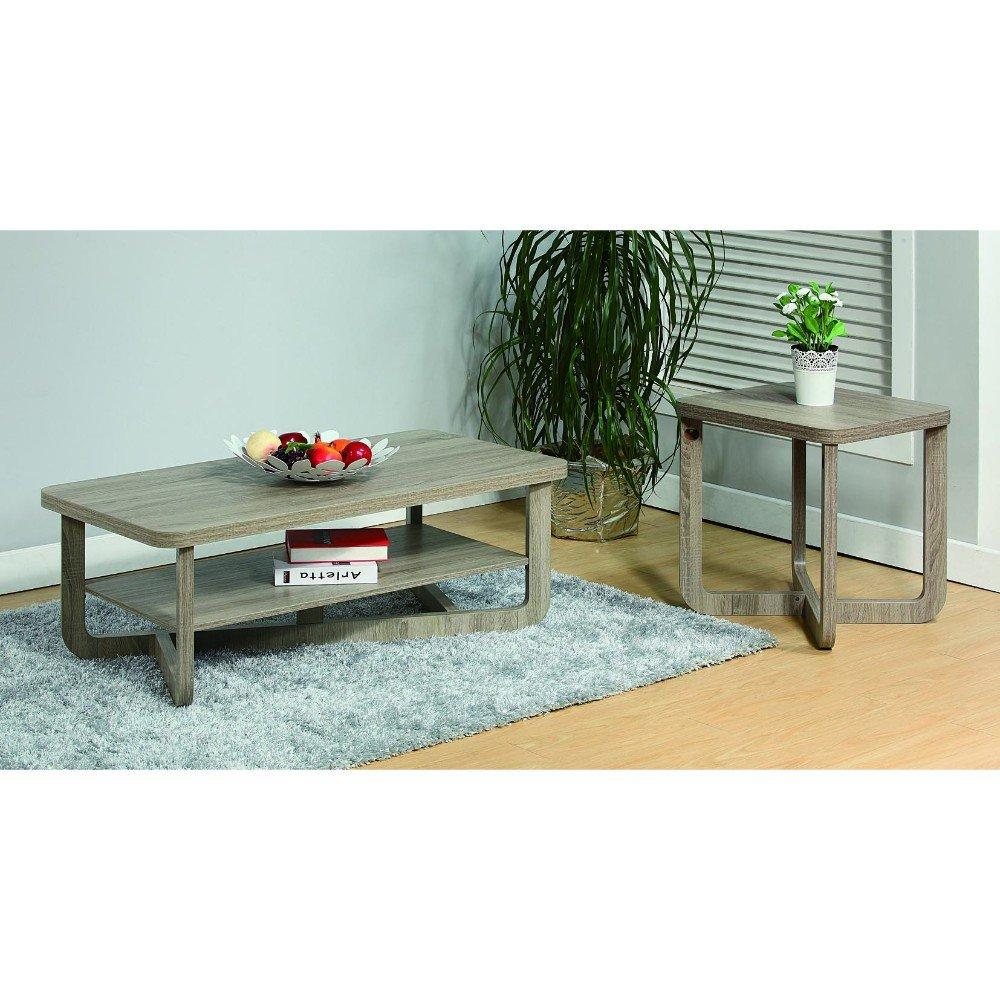 Benzara Coffee & End Rounded Corners, Set of Two, Gray Coffee Table