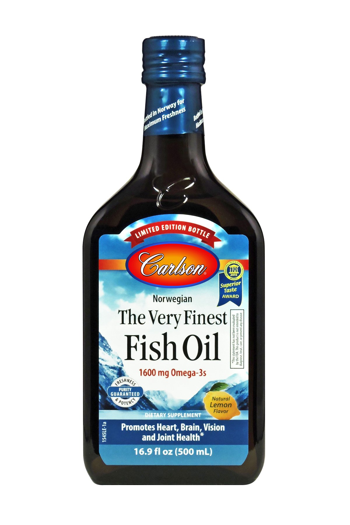 Carlson Limited Edition The Very Finest Fish Oil, Norwegian, Lemon, 1,600 mg Omega-3s, 500 mL
