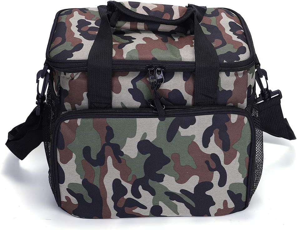 Large Insulated Lunch Box Leakproof lunch Bag for Men Women Adult Picnic Soft Cooler Bag with Adjustable Shoulder Strap for Work Office Beach 14L, fits 20 Cans of 355ml Cola (Forest Camouflage)