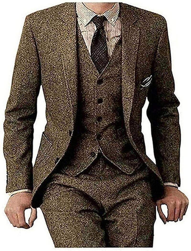 Vintage Brown Herringbone Wool Men/'s Suits Formal Tuxedo Notch Lapel Blazer Coat