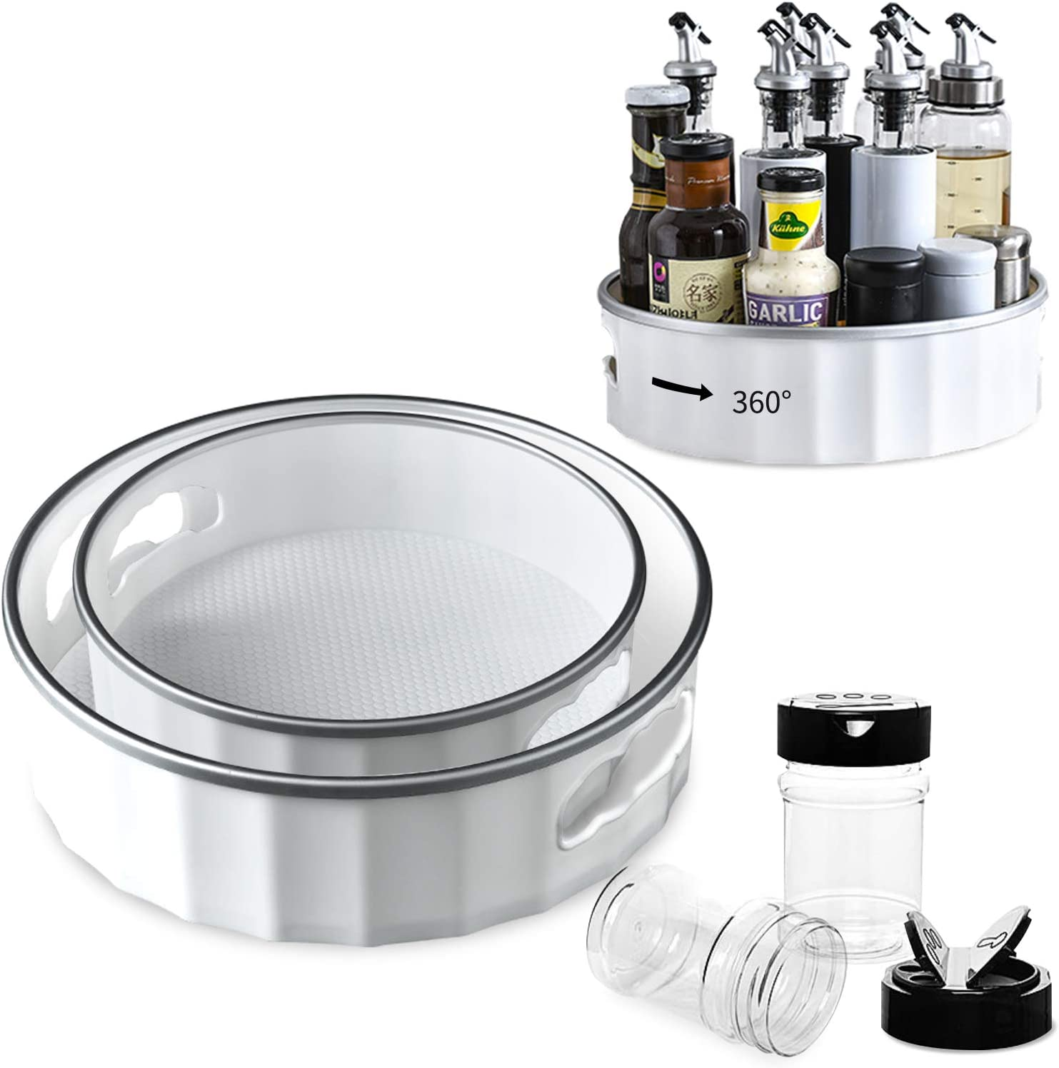 2 Pack 12 Inch Lazy Susan Turntable 9 Inch Cabinet Organizer for Kitchen 360 Rotating Food Storage Container Fridge Pantry Includes 2 Pack Black Cap Plastic 9 Oz Spice Jar Bottles (Silver Gray)