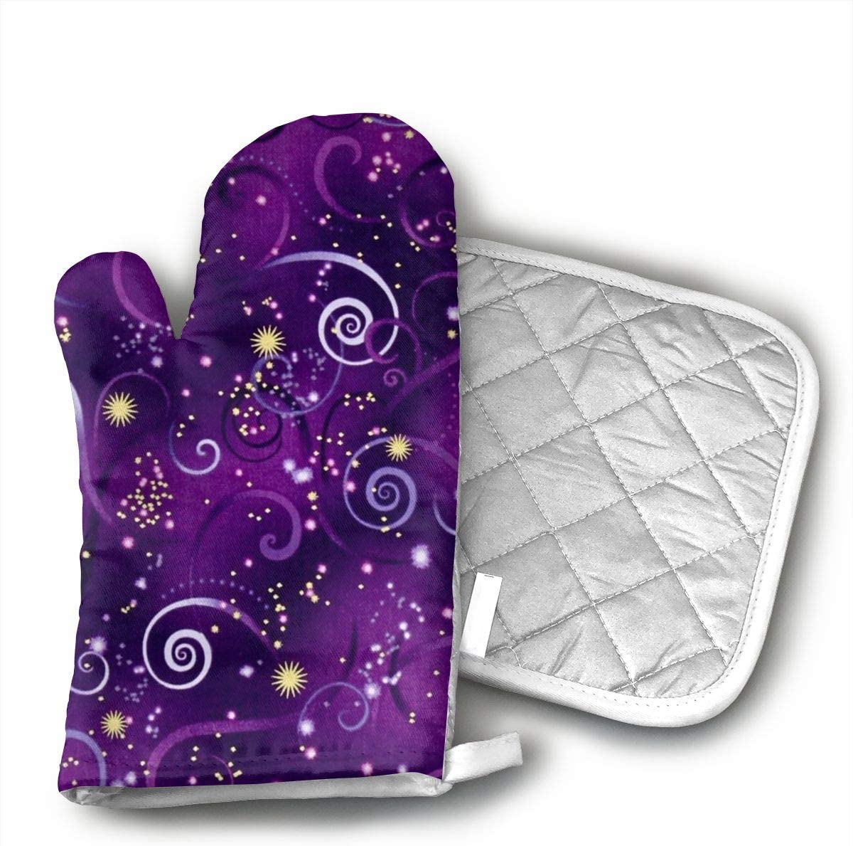 Dragonfly Metallic Swirling Sky Deep Purple Oven Mitts,Professional Quality Heat Resistant Insulated Kitchen Microwave Oven Gloves,with Potholders Oven Gloves,Insulated Quilted Cotton Potholders