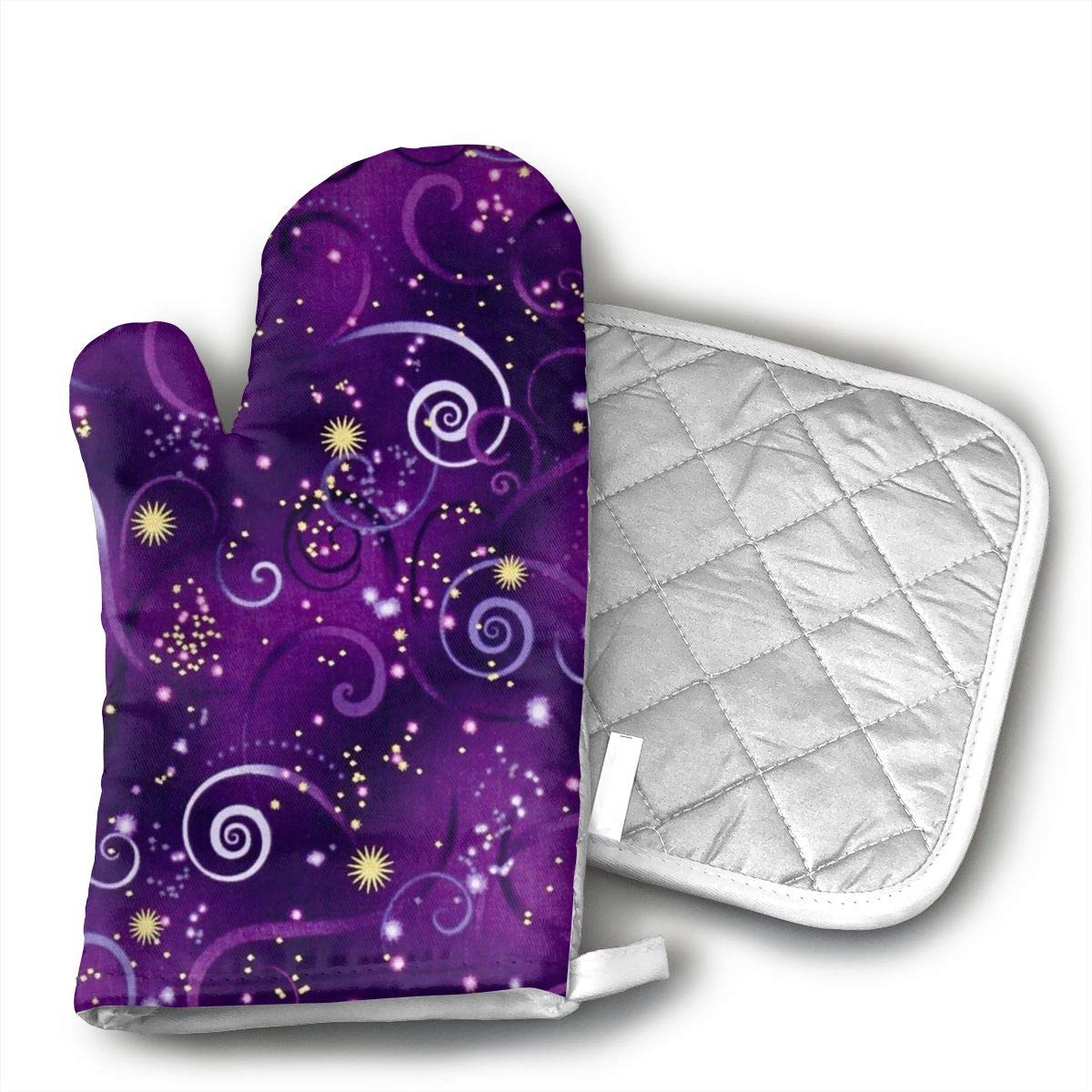 HiHMJ Dragonfly Metallic Swirling Sky Deep Purple Oven Mitts Kitchen Cooking Cotton Microwave Oven Gloves Mitts Pot Pad Heat Proof Protected Gloves