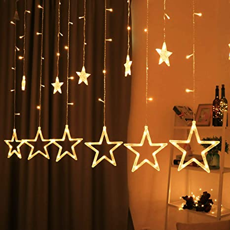Hemito Star Curtain LED Light, 2.5m long, 8 Mode Remote, 12 Golden Stars  with 138 LED Waterproof Linkable String LED Lights for home Decoration, ...