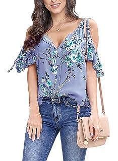 c322019100ccd8 Asvivid Womens Summer Cold Shoulder Short Sleeve T-Shirt V Neck Floral  Printed Loose Blouses
