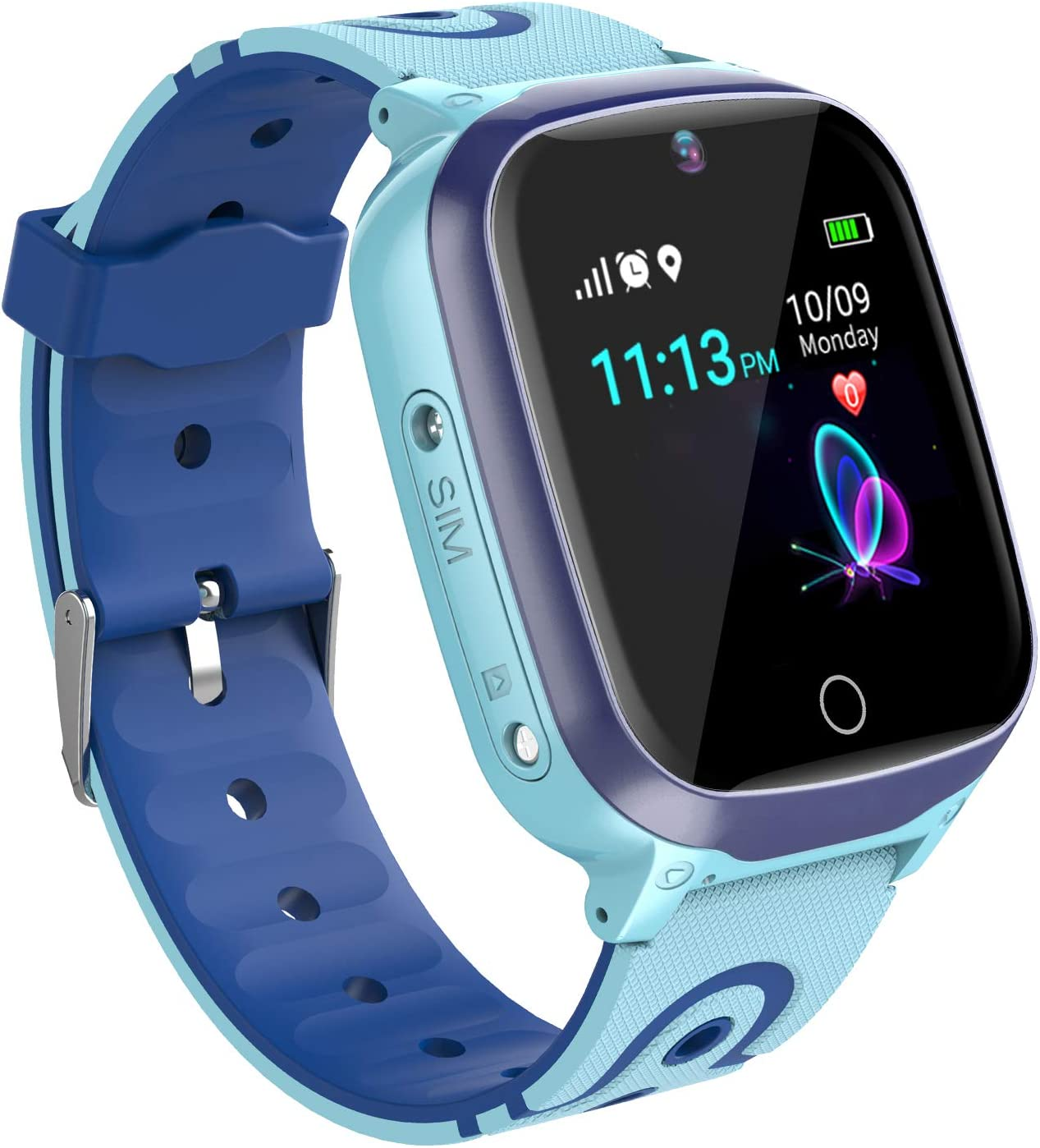 Relojes para Ninos GPS Tracker Inteligente- Smartwatch Niños GPS LBS Localizador SOS Voz Chat Cámara Pantalla Táctil HD Niño Niña Reloj GPS Niñode 4-12 Años Compatible con iOS/Android (Azul)