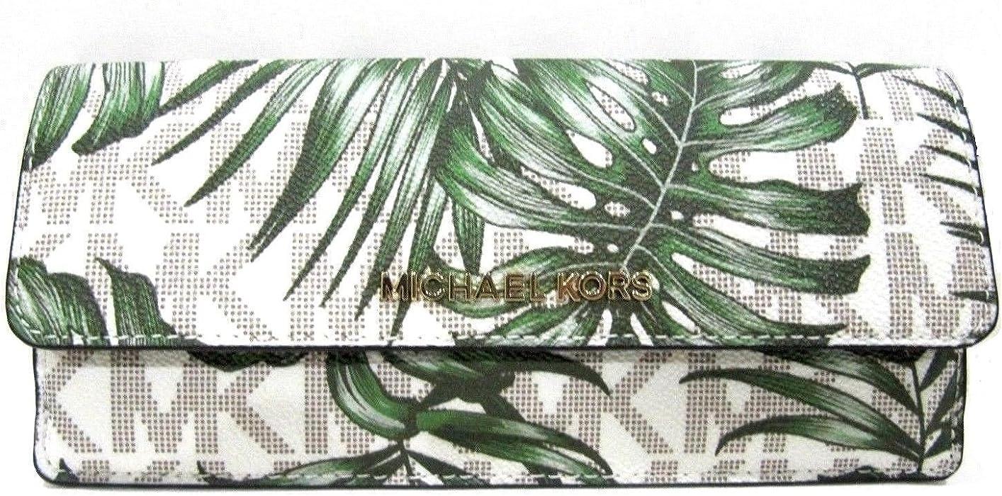7f429b0cf5cbfe MICHAEL Michael Kors Jet Set Travel Flat Wallet Vanilla & Olive Palm Leaves