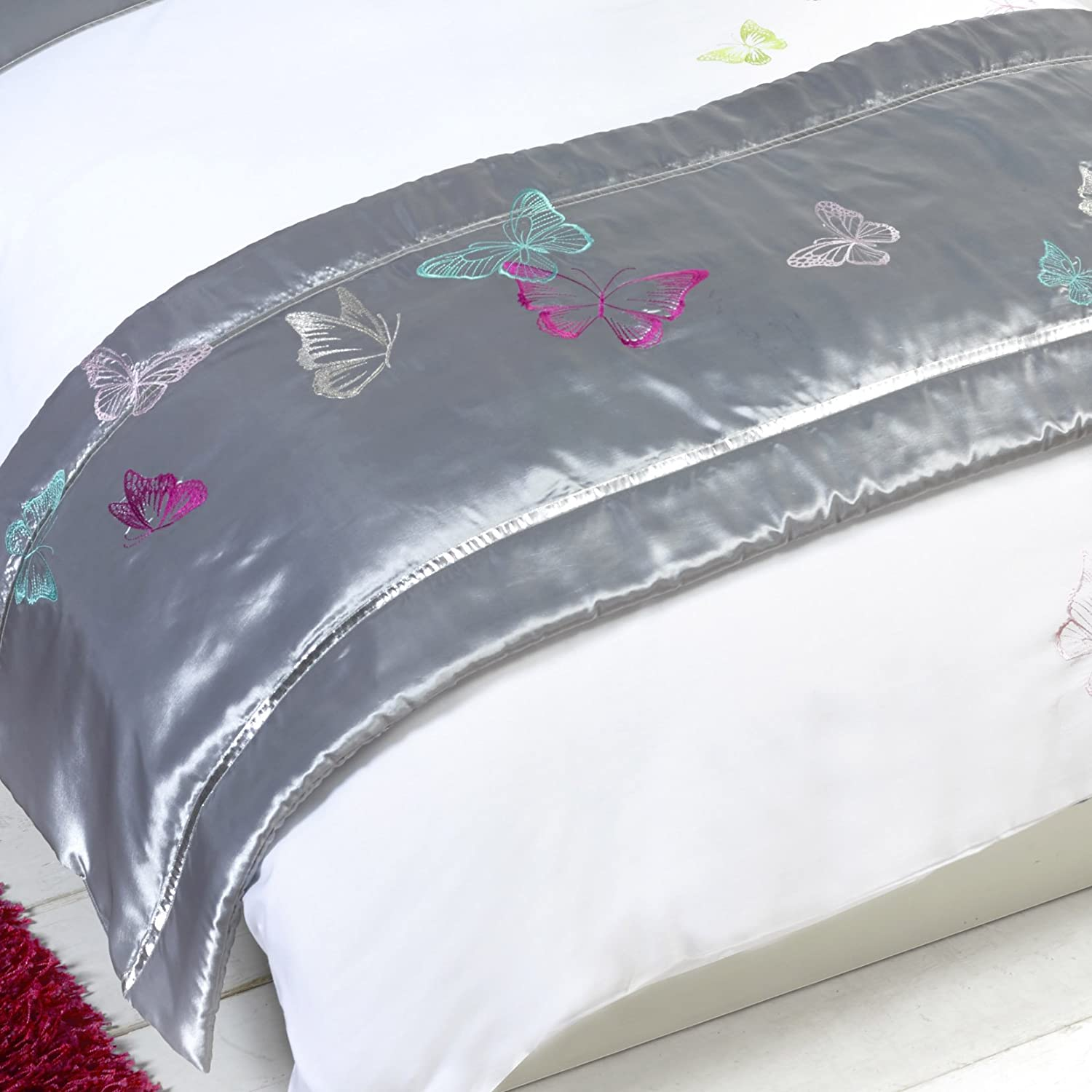 Tobias Baker Silver Grey Butterfly Print Bed Runner - Single