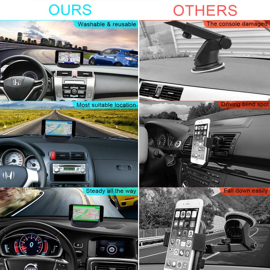 Car Phone Holder, HokoAcc Car Phone Mount Anti-slip Silicone Dashboard Car Pad Mat, for iPhone X/8 Plus/7 Plus/6/6S Plus, Samsung Galaxy S8 Plus/Note 8/S7 and Other 3.0-7 inch Devices by HokoAcc (Image #5)