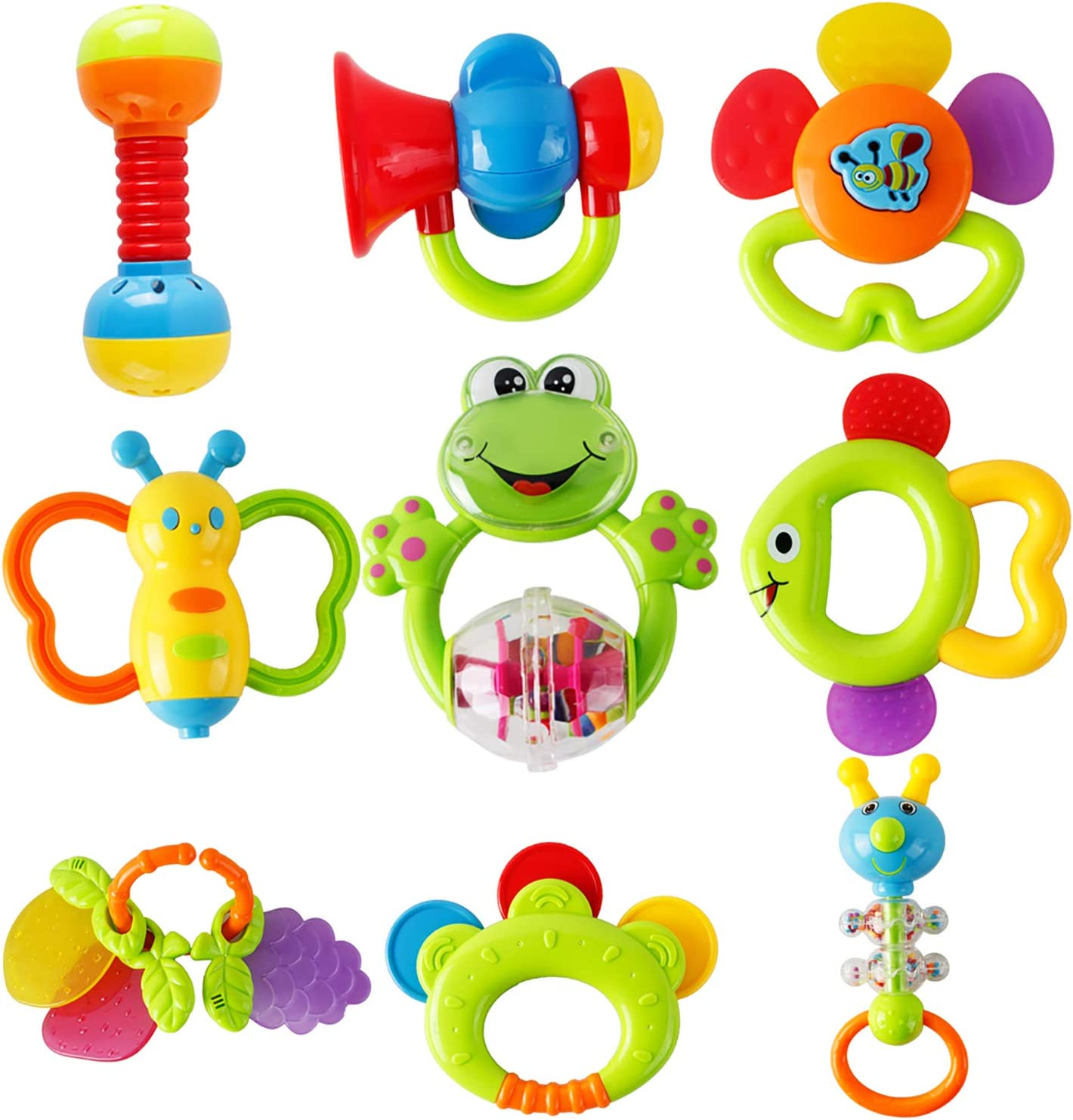 Rattle Teething Toys for Baby Sensory Baby Toy 0-6 Months Teether Shaker Grab Rattle Baby Infant Newborn Toys Early Educational Toys for 3 6 9 12 Month Boys Girls