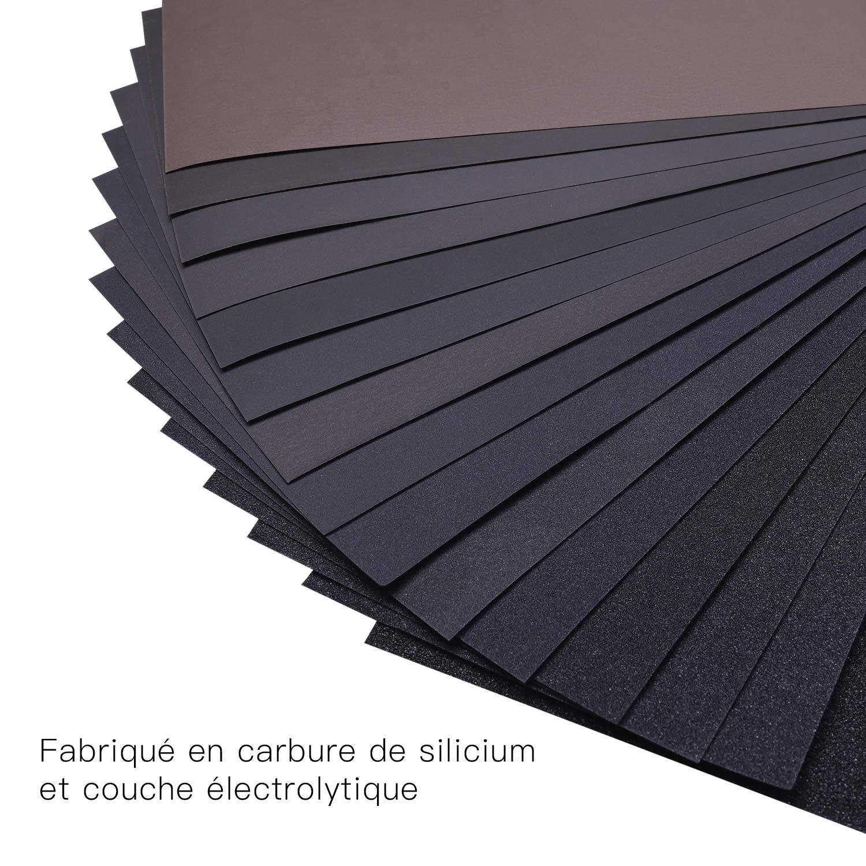 automoci/ón trabajo de madera 45 hojas de papel de lija impermeable para pulir y pulir arte y artesan/ía metal y pl/ástico ASD07C