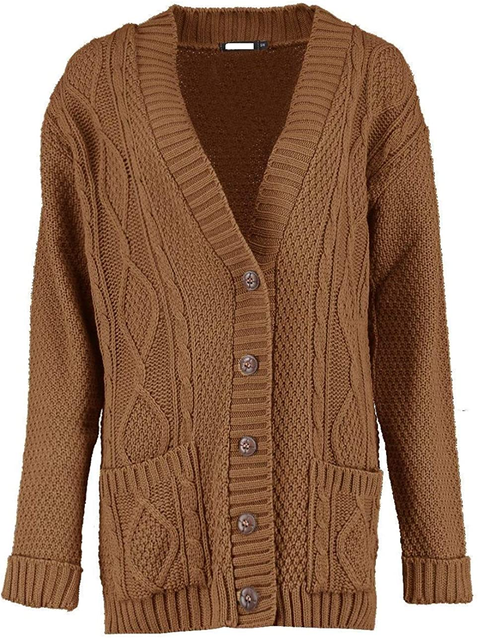Women/'s Ladies Cable Knitted 5 Button Granded Boyfriend Cardigan Plus Size 8-26