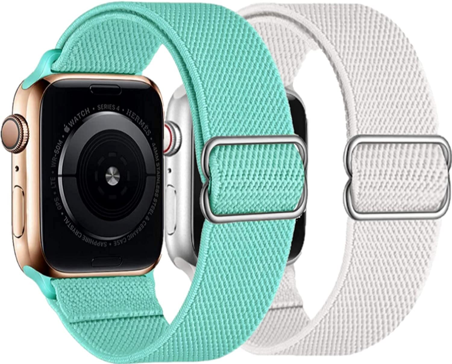 Pack of 2 Stretchy Compatible with Apple Watch Bands 38mm 40mm and 42mm 44mm for Women Men, Nylon Solo Loop Replacement for iwatch Straps, Adjustable Braided Bracelets SE Series 6,5,4,3,2,1