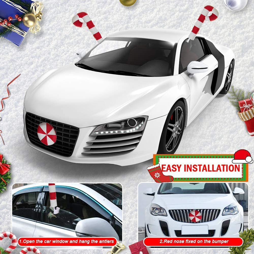 Holiday Car Window Antlers and Red Nose Christmas Car Decorations with Jingle Bell Holoras Car Reindeer Antlers /& Nose