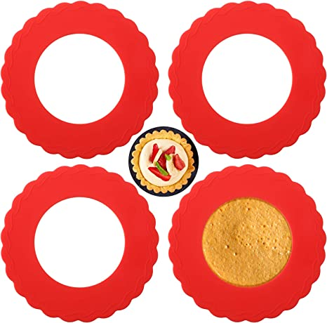 Pie Crust Protector Shield Kitchen Tool for Baking Pie Fit 8 Inch to 11 Inch Diameter Pies Protector Shield Silicone Pie Crust Protector,Adjustable Pie Shield 4Pcs,Red