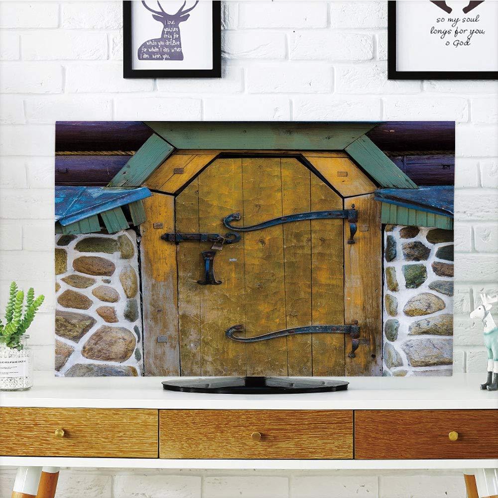 CANCAKA 液晶ディスプレイテレビカバー マルチスタイル 素朴 素朴 古風 納屋 ドア コテージ 田舎風キャビンテーマ 田舎風 ミスティック入り口 家の装飾 暖色トープ ココア カスタマイズ可 60インチテレビ対応 TV 60