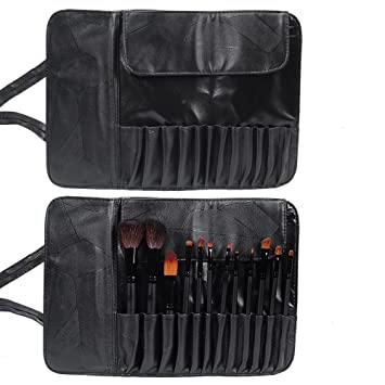 11bffd9d8d04 Amazon.com   Makeup Brush folding Pouch-Cosmetic Brushes Leather Bag  Organizer Holder Travel Portable Case 12 Pockets(Black)   Beauty