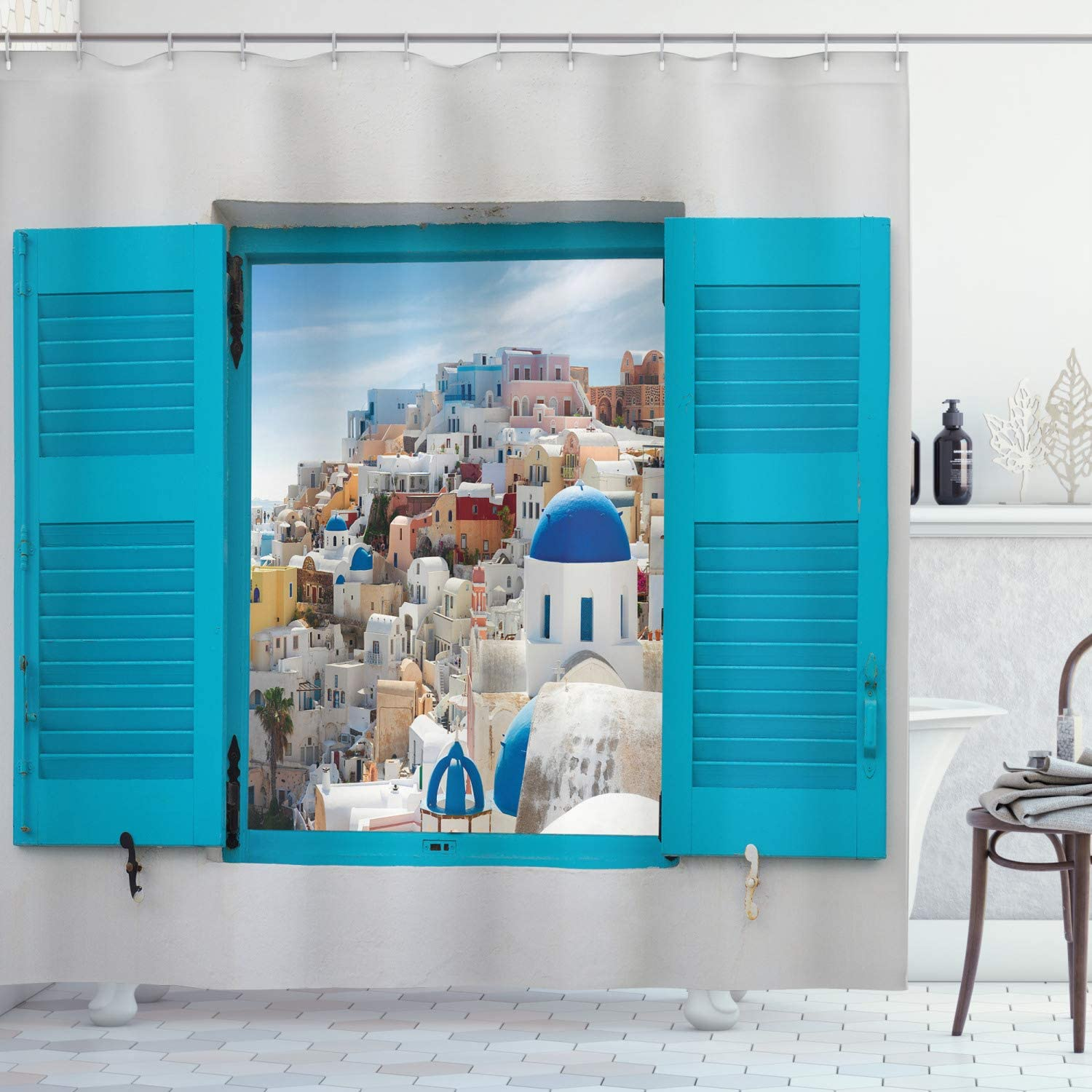 Ambesonne European Shower Curtain, Old Shutters of Window with View of Traditional Greek Village Heritage Culture, Cloth Fabric Bathroom Decor Set with Hooks, 75