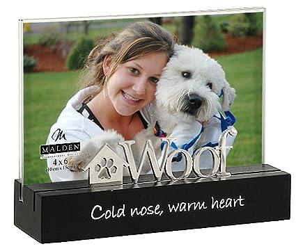 Amazon.com: Malden International Designs Woof Black Wood Desktop ...
