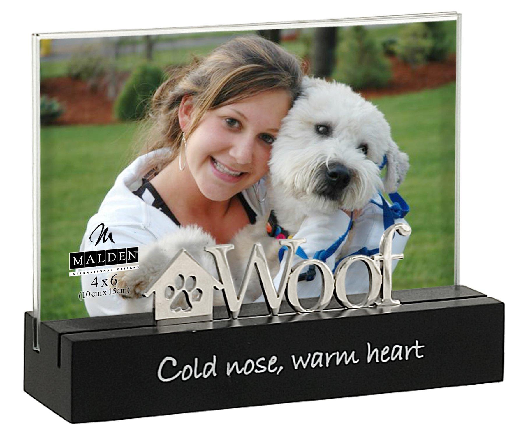 Malden International Designs Woof Black Wood Desktop Expression Picture Frame, 4x6, Black