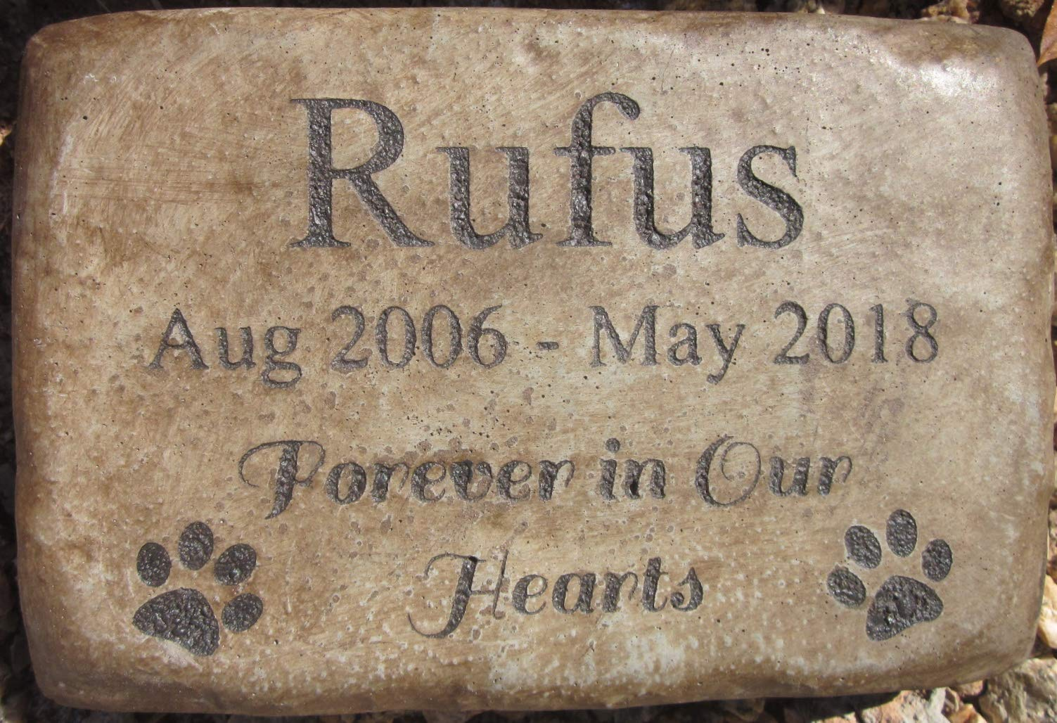 Personalized Engraved Pet Memorial Stone 8.5''x5.5'' Forever in Our Hearts Paws
