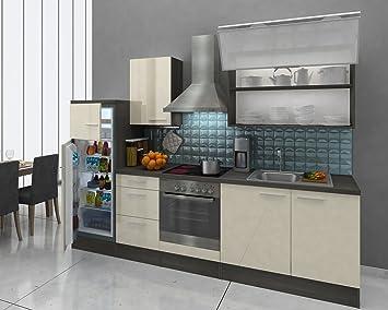 respekta Premium Küche Küchenzeile 280 cm EICHE Vanille Hochglanz ...