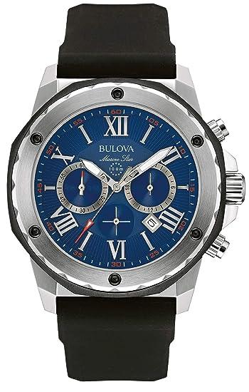 Bulova Marine Star 98B258 - Reloj de pulsera de diseño para hombre - Función de cronógrafo - Correa de goma - Resistente al agua - Esfera azul: Amazon.es: ...