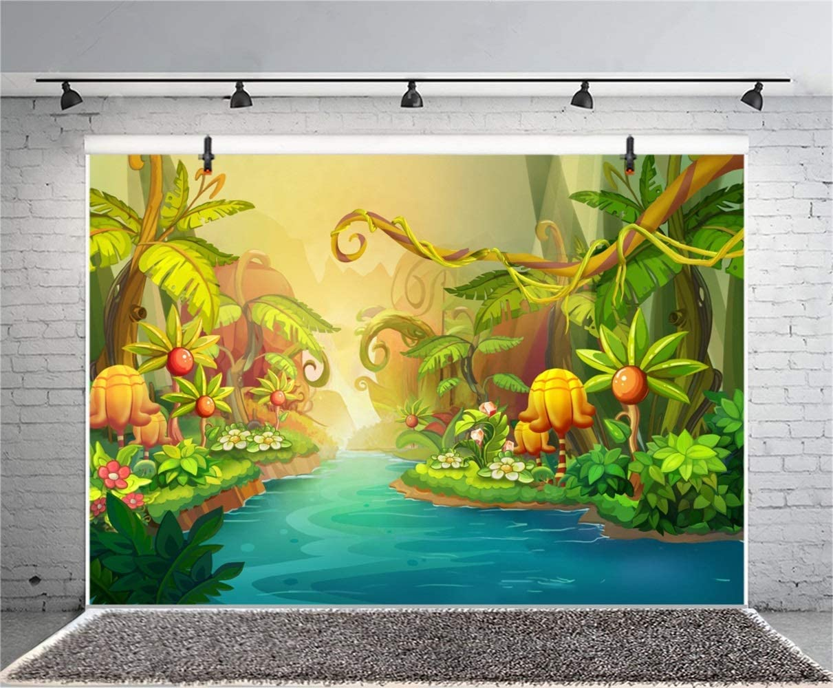 Cartoon Tropical Jungle Forest Backdrop Polyester 10x6.5ft Fairytale Story River in The Woods Flowers Lush Plants Background Baby Birthday Party Banner Cake Smash Child Baby Portrait Shoot