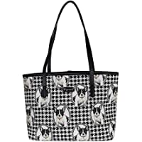 Black and White French Bulldog Shoulder Tote Bag by Signare/Womens Evening Side Puppies/COLL-Fren