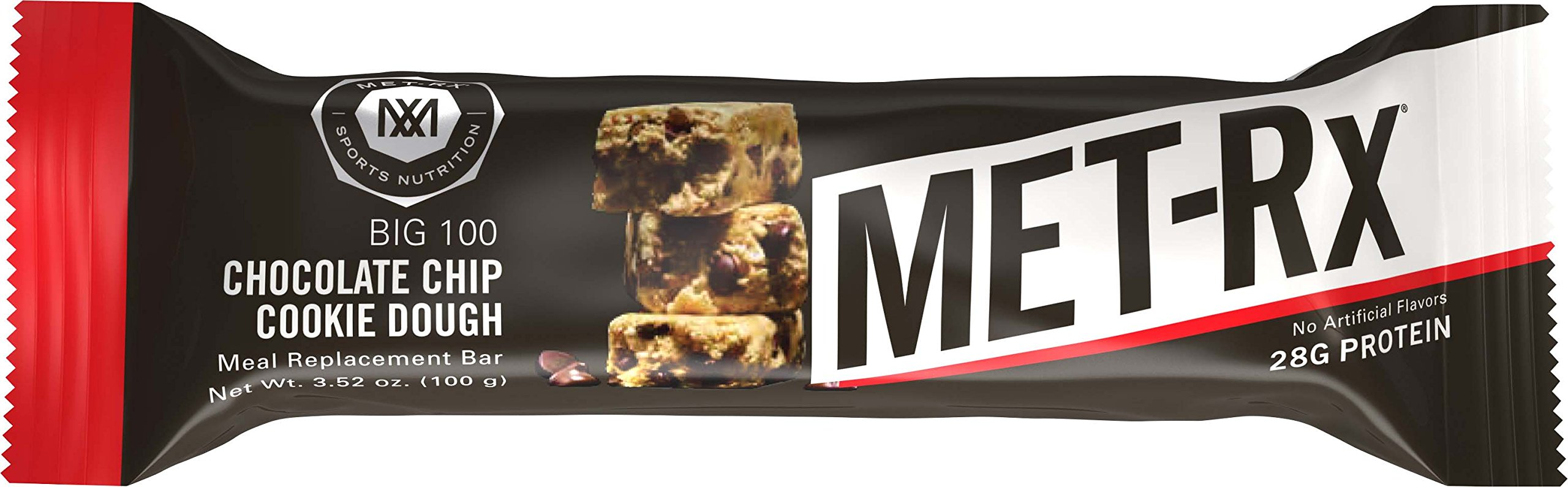 MET-Rx Big 100 Colossal Protein Bars, Great as Healthy Meal Replacement, Snack, and Help Support Energy, Gluten Free, Chocolate Chip Cookie Dough, 100 g, 9 Count