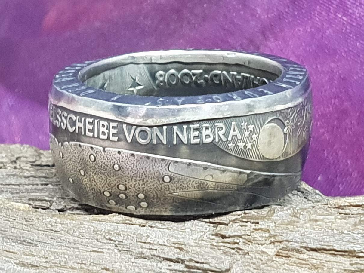 Coinring,Himmelsscheibe von Nebra verschiedene Gr/össen M/ünzring Himmelsscheibe von Nebra Handgeschmiedetes unikat Silber 925er