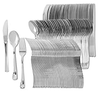 Disposable Plastic Utensils   Heavy Duty Silverware & Solid Cutlery Set   Perfect for Weddings, Buffets, Luncheon & More   80 Forks, 40 Spoons & 40 Knives Combo Pack   160 Count