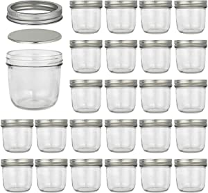 SXUDA Mason Jars with Silver Lids and Bands Wide Mouth Canning Jars Jelly Jar for Jam, Honey, Wedding Favors, Baby Foods, DIY Magnetic Spice Jars (10 oz,24 Pack)