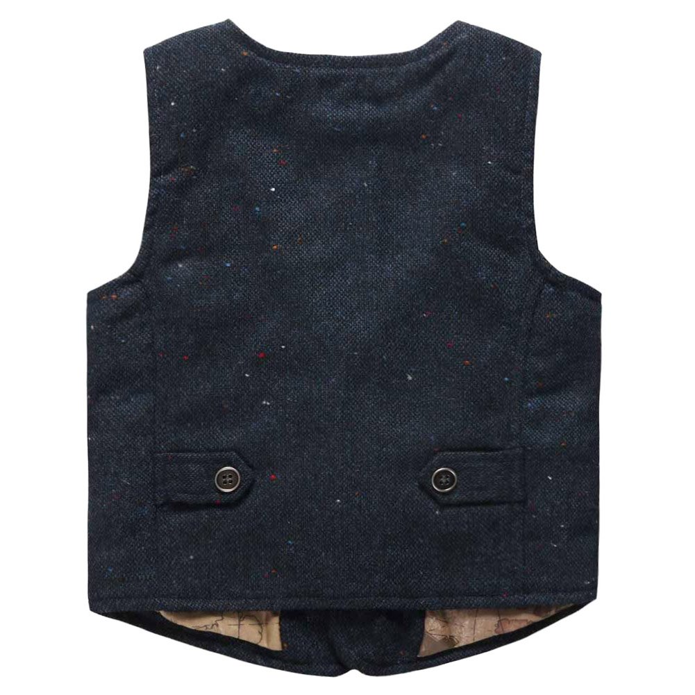 Coodebear Boys Girls Map Lined Pockets Buttons V Collar Vests