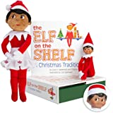 Elf on the Shelf Bundle - The Elf on the Shelf: Christmas Tradition Book with Dark Skin Brown Eyed Girl Scout Elf and Girl Plushee Pal
