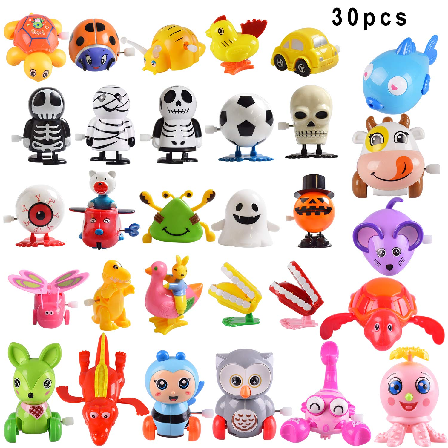 Max Fun 30PCS Assorted Wind Up Toys for Kids Party Favors Birthday Goody Bag Filler Gifts Pinata Filler Carniva Prize(Random Color)
