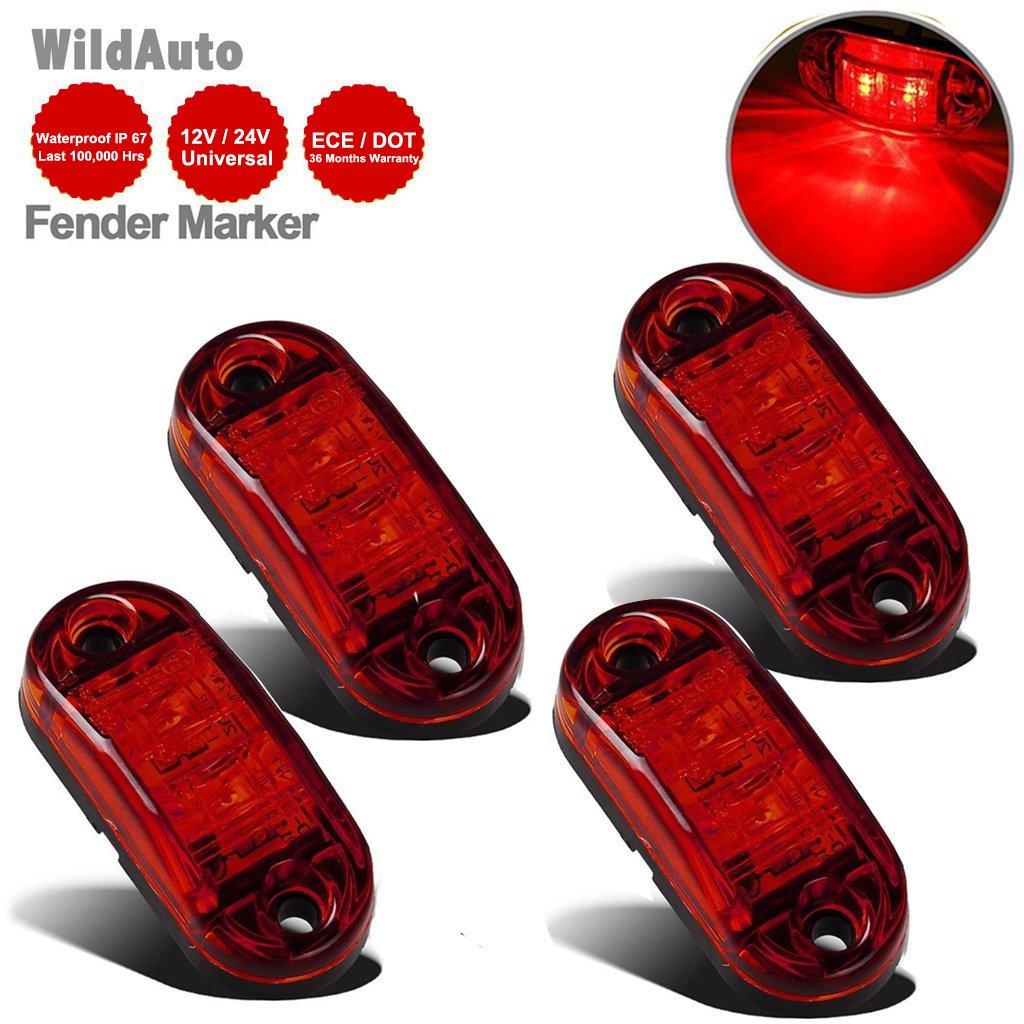 LED Seitenmarkierungsleuchten 12V//24V f/ür Auto LKW Anh/änger SUV Van Wasserdicht Markierungsleuchten E-geprueft-WildAuto Gelb 4pcs