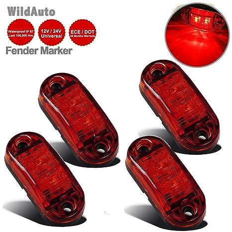 WildAuto Led Camión Luces De Posicion Lateral Luces Galibo Para Camión Remolque 2.5 Pulgada 2 LEDs