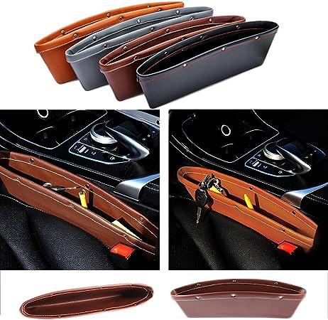 Greencolourful Auto Seite Tasche 2 Stück Universal Innen Auto Aufbewahrungsbox Auto Leder Seiten Schlitz Taschen Aufbewahrungs Auto