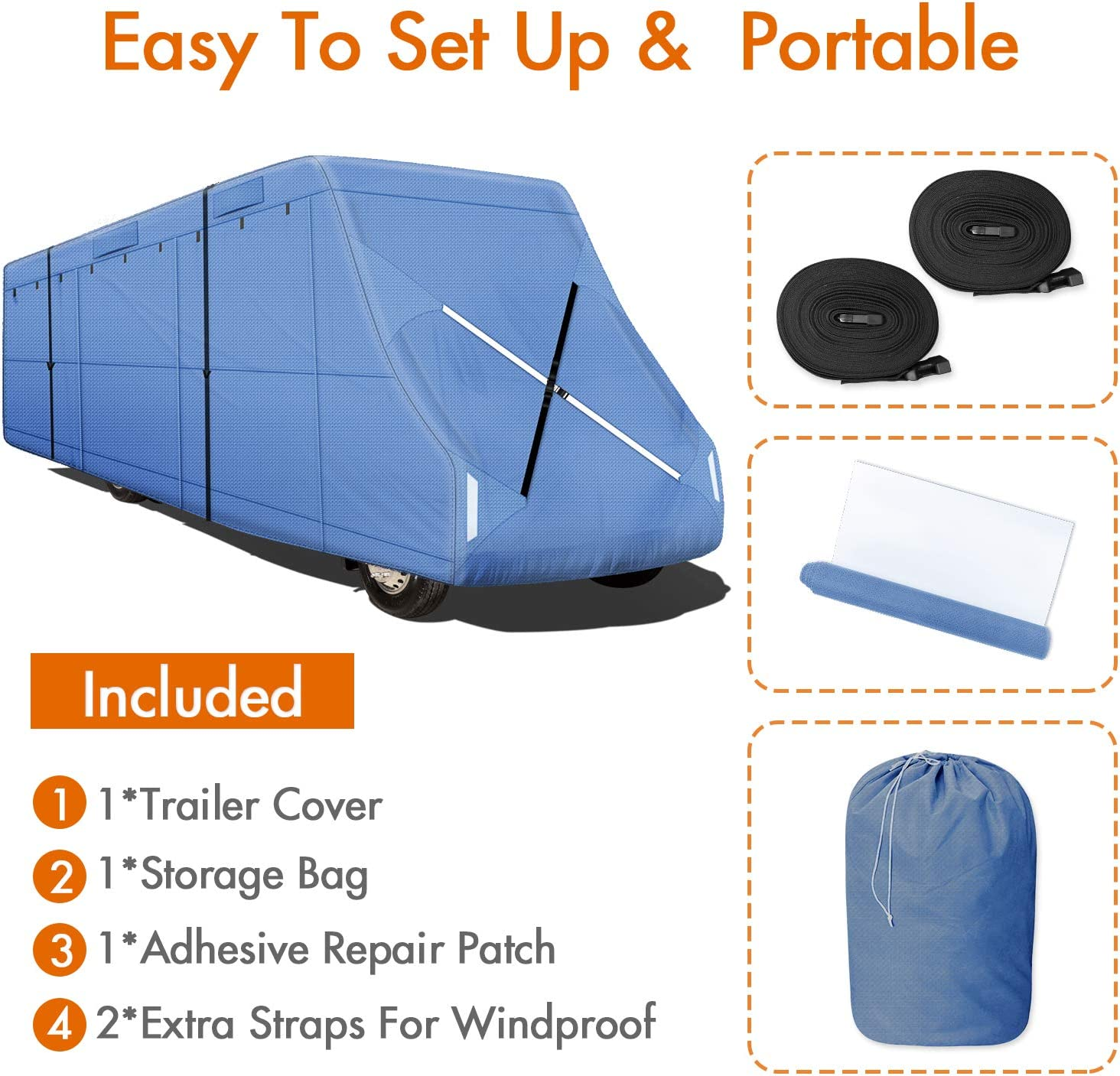 Leader Accessories Easy Setup Class C Cover Windproof Upgrade RV Cover Fits 32-35 Motorhome with Adhesive Repair Patch