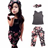 Amazon Price History for:Little Girls' 3 Pieces Outfit Set Black Tank Top, Flowers Prints Leggings, Headband