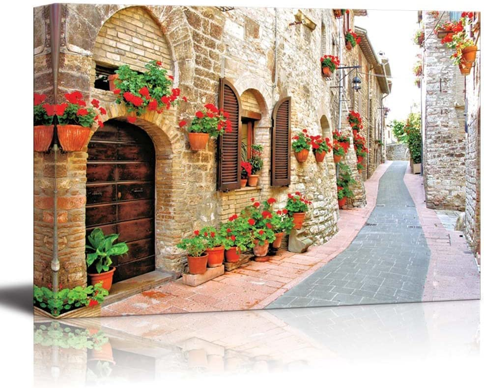 "Beautiful Scenery Landscape of Picturesque Lane with Flowers in an Italian Hill Town - Canvas Art Wall Art - 16"" x 24"""
