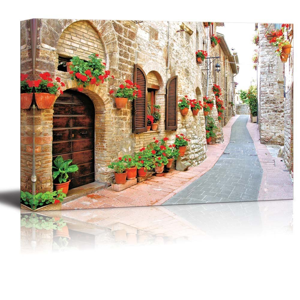 "Canvas Prints Wall Art - Beautiful Scenery/Landscape of Picturesque Lane with Flowers in an Italian Hill Town | Modern Wall Decor/ Home Decor Stretched Gallery Canvas Wraps Giclee Print & Ready to Hang - 24"" x 36"""