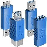 4 Arten von USB 3.0-Adapter, AFUNTA Typ-A-Buchse auf Buchse und Stecker auf Stecker, Typ A-Buchse auf B-Buchse, Micro-B-Stecker auf TypA-Stecker, High-Convert-Speed-Verlängerung Kupplung Steck