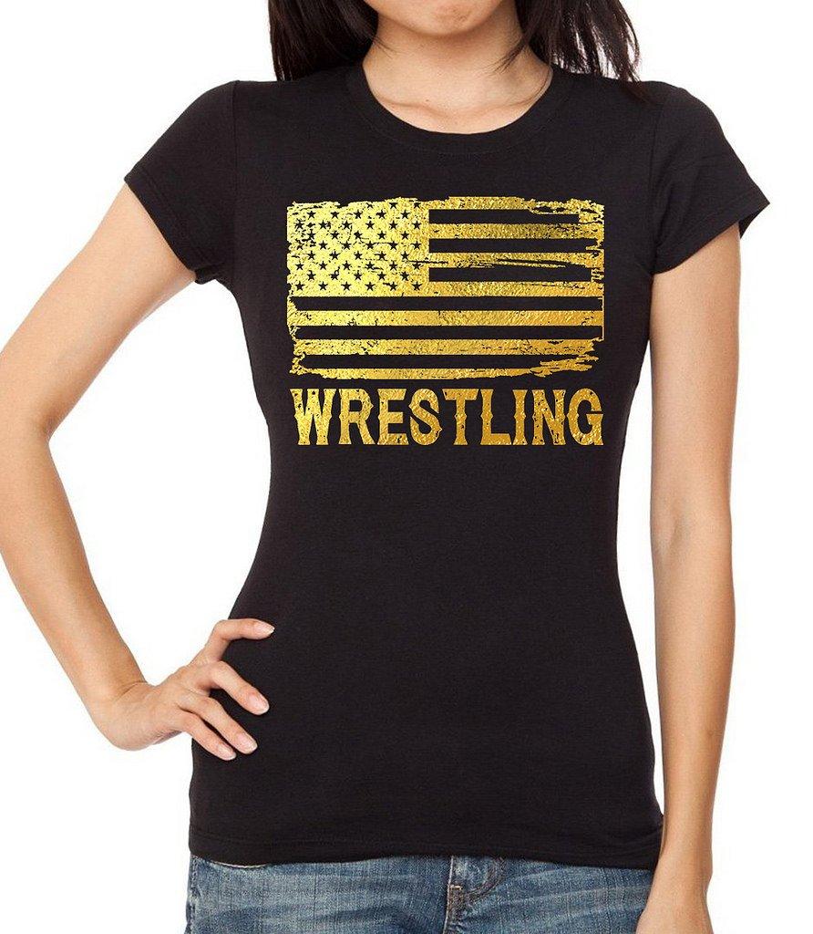 Interstate Apparel Inc Junior's Gold Foil Wrestling American Flag Black T-Shirt Large Black by Interstate Apparel Inc